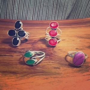 Jewelry - 4 Silver Rings with Gemstones
